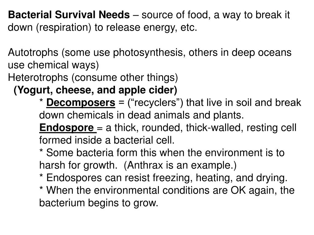Bacterial Survival Needs