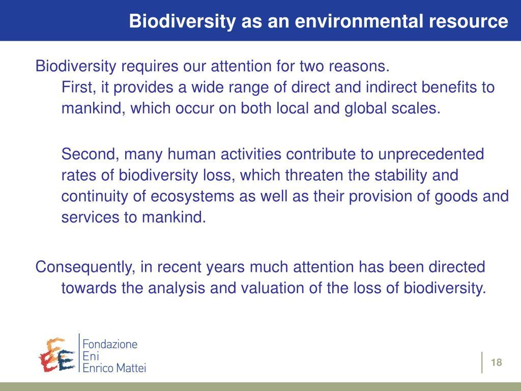 Biodiversity as an environmental resource