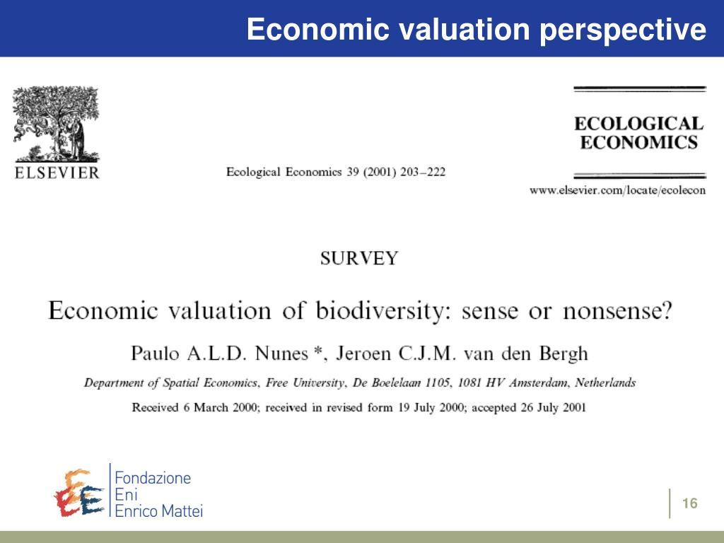 Economic valuation perspective