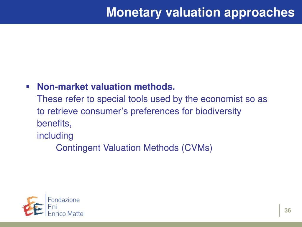 Monetary valuation approaches