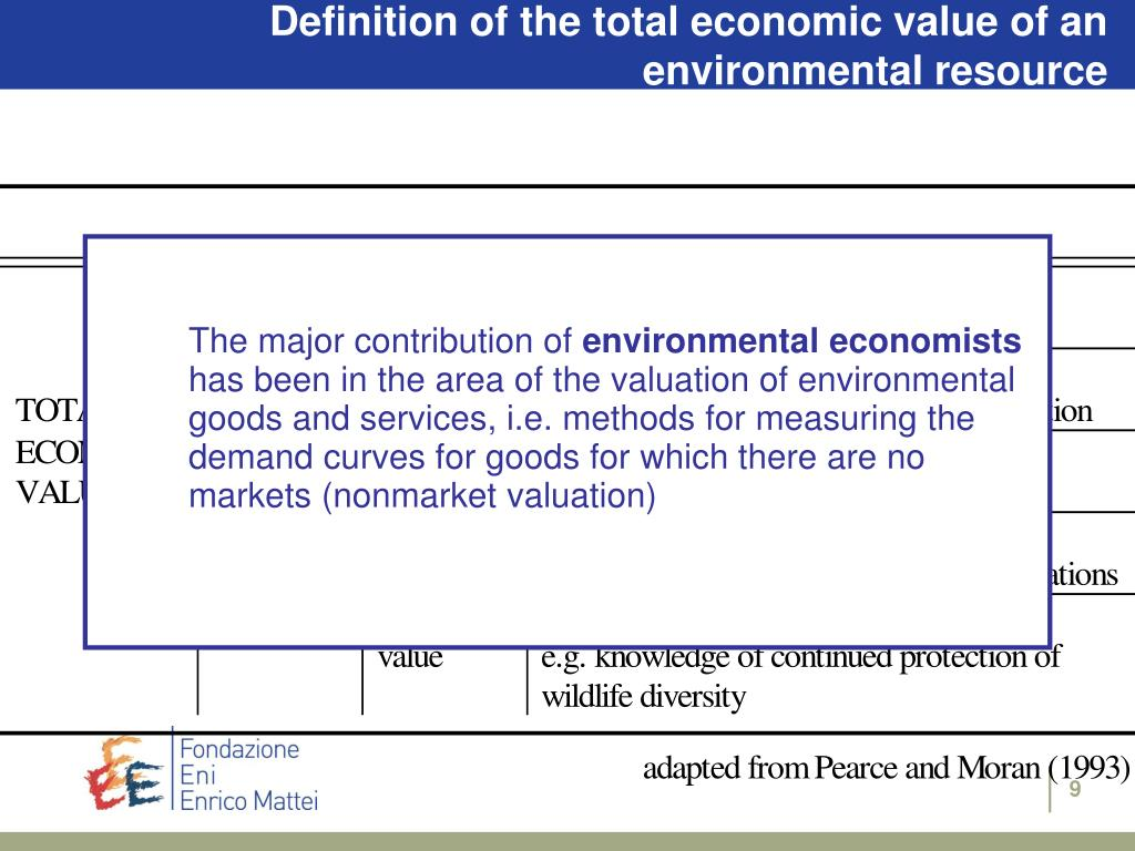 Definition of the total economic value of an environmental resource