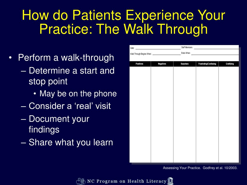 How do Patients Experience Your Practice: The Walk Through