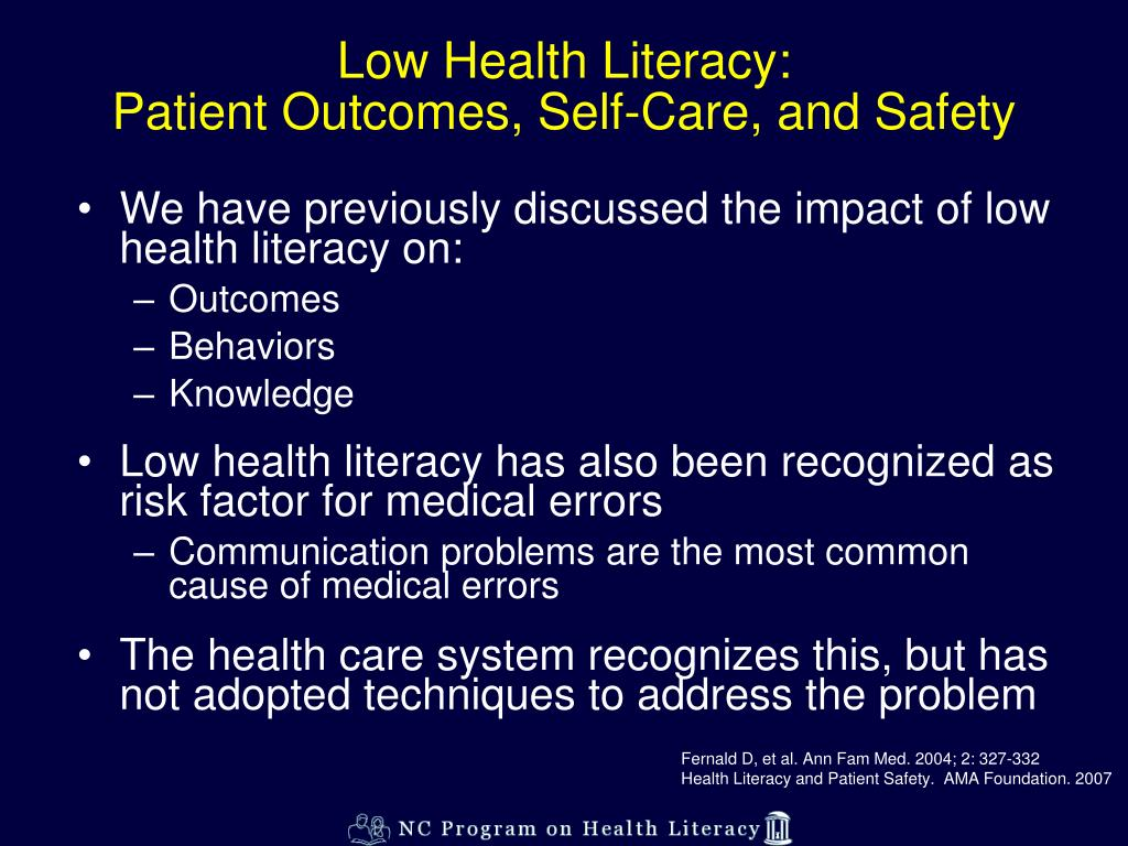 Low Health Literacy:
