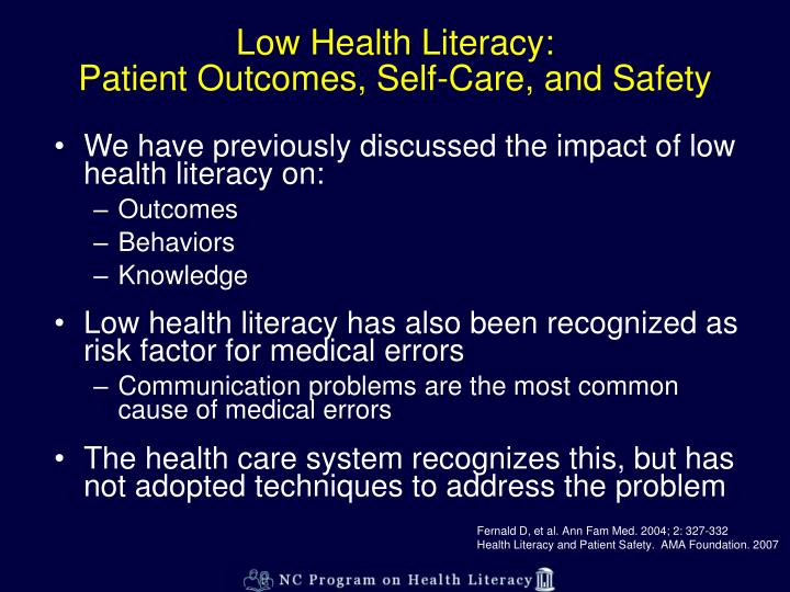 Low health literacy patient outcomes self care and safety l.jpg