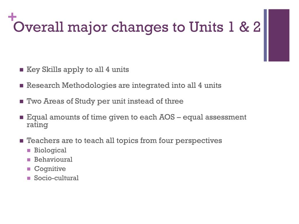 Overall major changes to Units 1 & 2