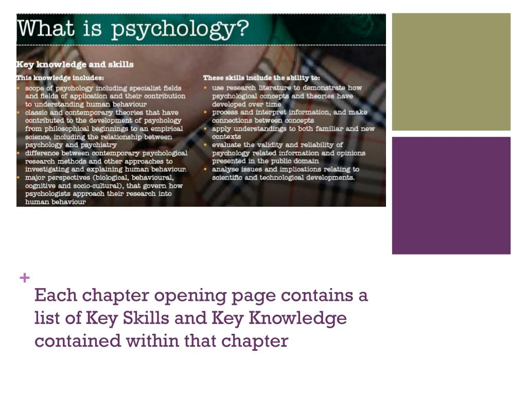 Each chapter opening page contains a list of Key Skills and Key Knowledge contained within that chapter