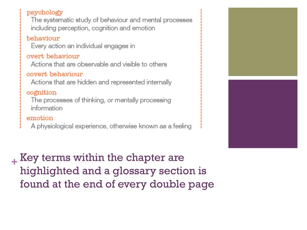 Key terms within the chapter are highlighted and a glossary section is found at the end of every double page