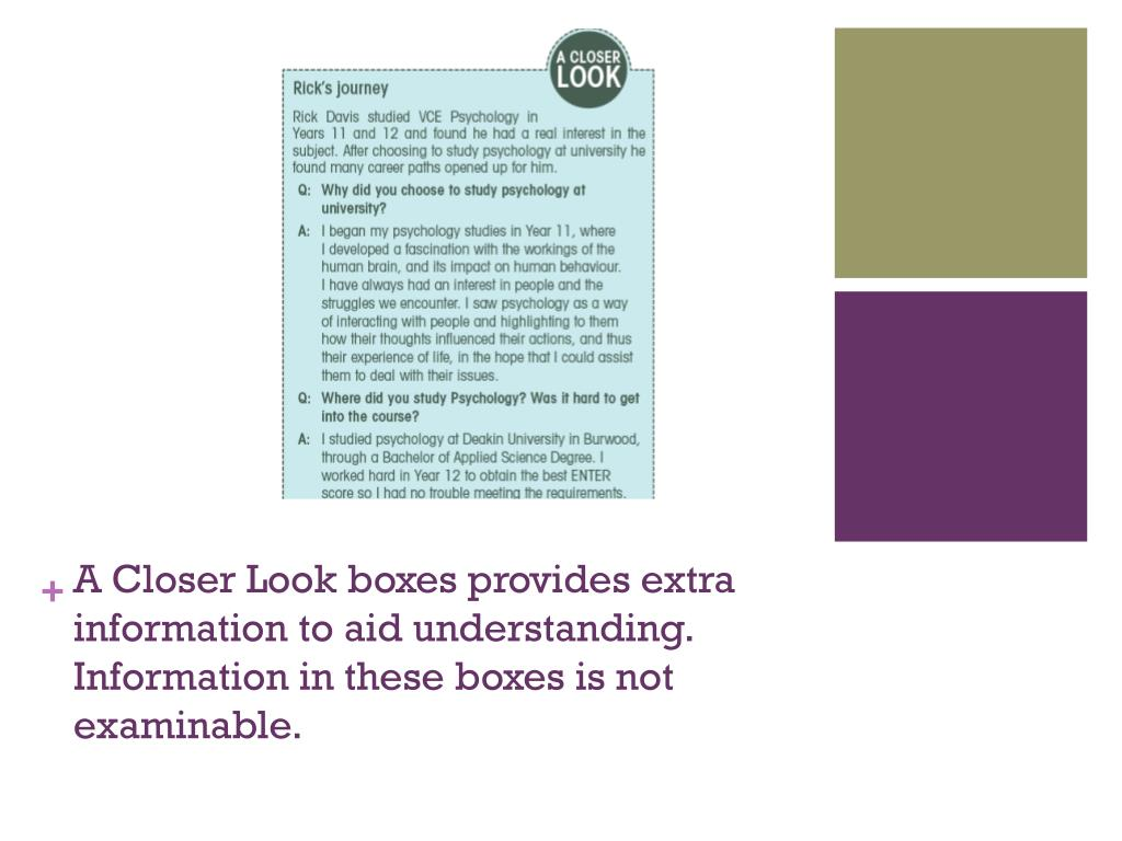 A Closer Look boxes provides extra information to aid understanding. Information in these boxes is not examinable.