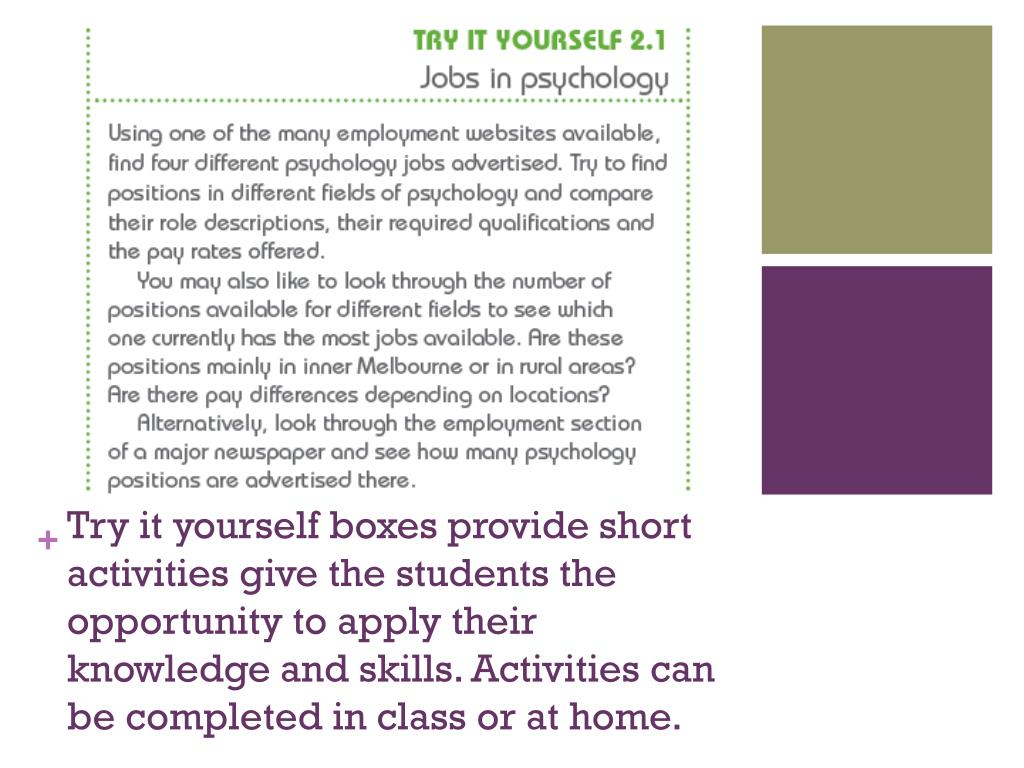 Try it yourself boxes provide short activities give the students the opportunity to apply their knowledge and skills. Activities can be completed in class or at home.