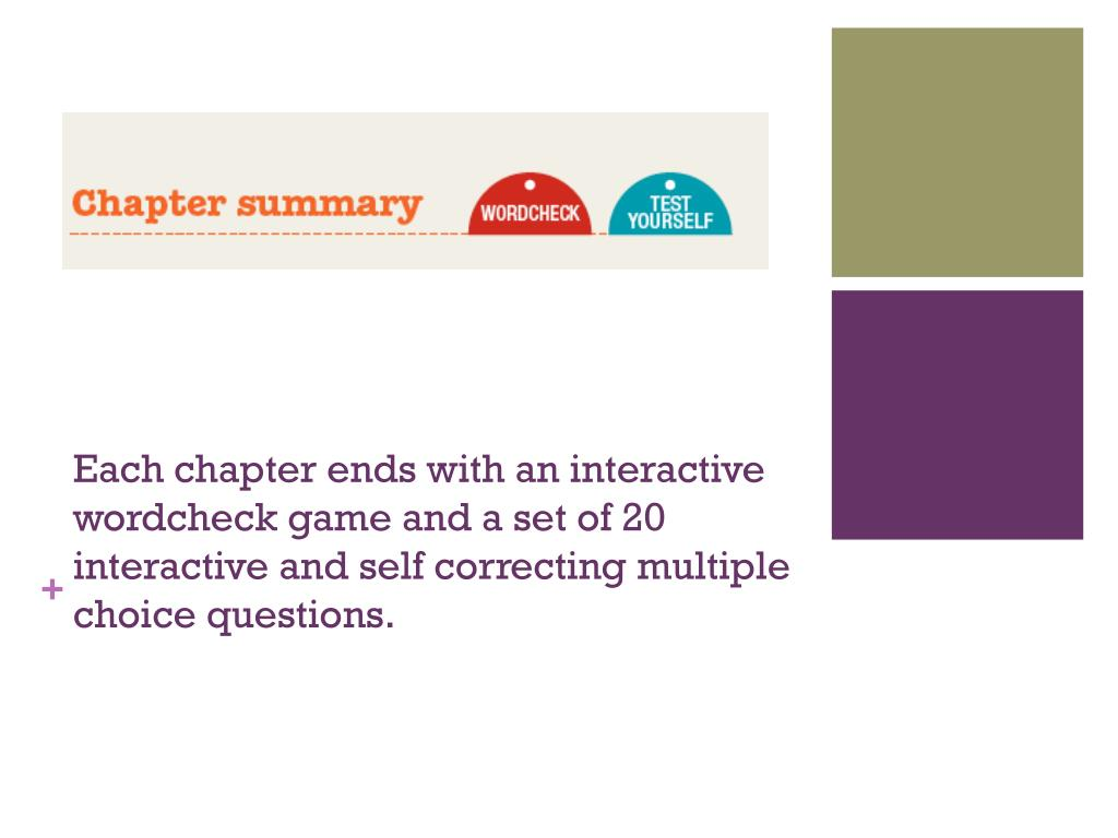 Each chapter ends with an interactive wordcheck game and a set of 20 interactive and self correcting multiple choice questions.
