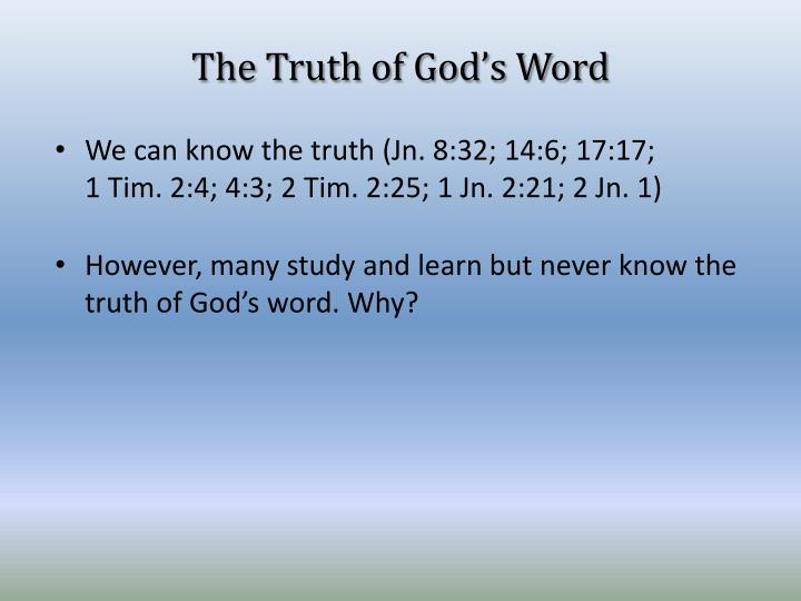 The truth of god s word