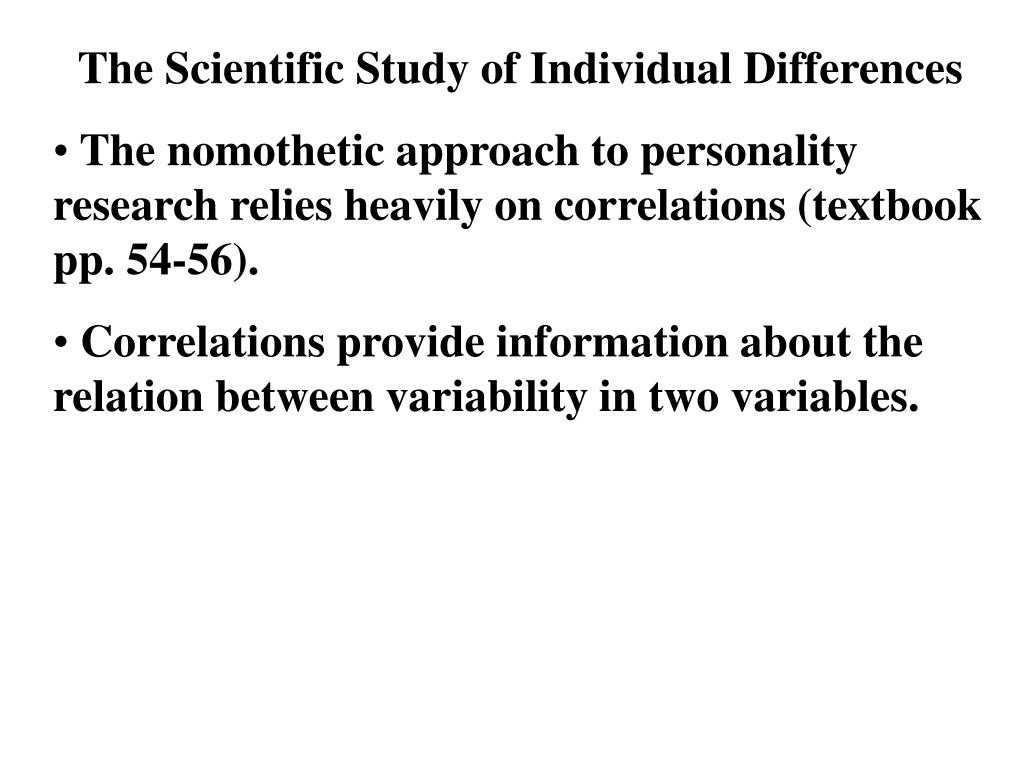 how do individual differences e g personality Individual difference psychology examines how people are similar and  to their  intelligence and personality characteristics, for example, with.