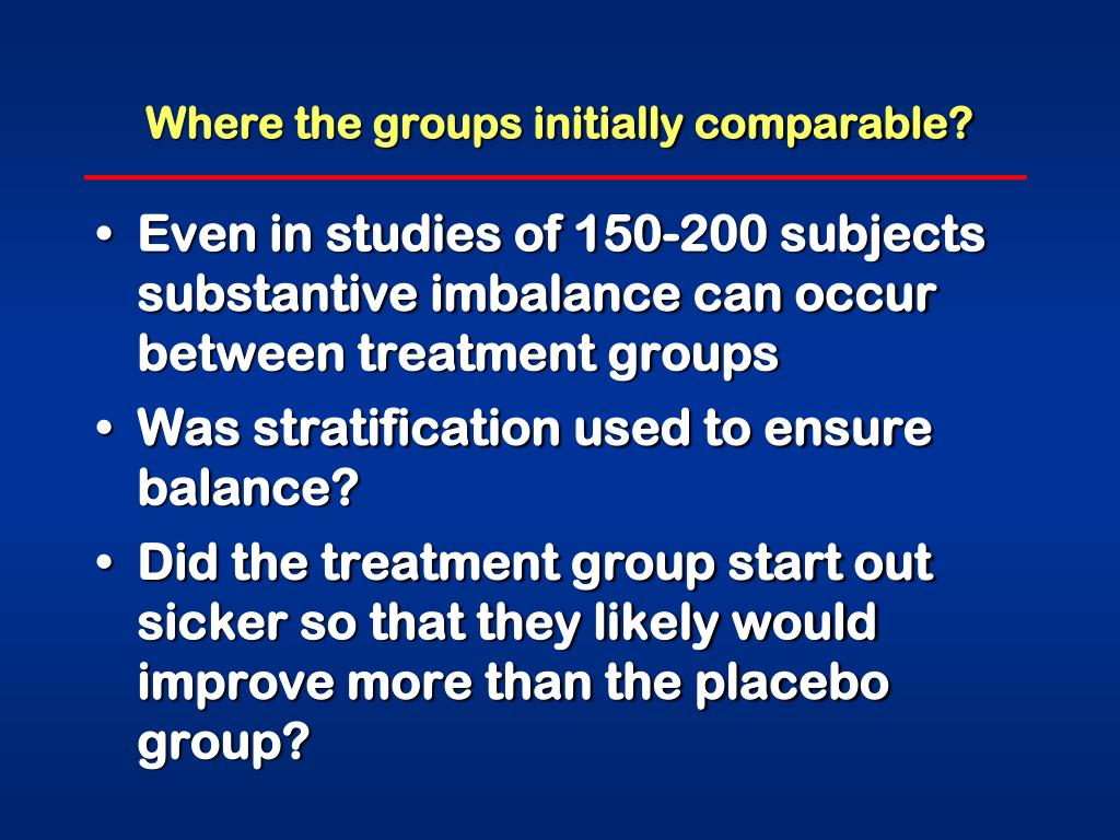 Where the groups initially comparable?