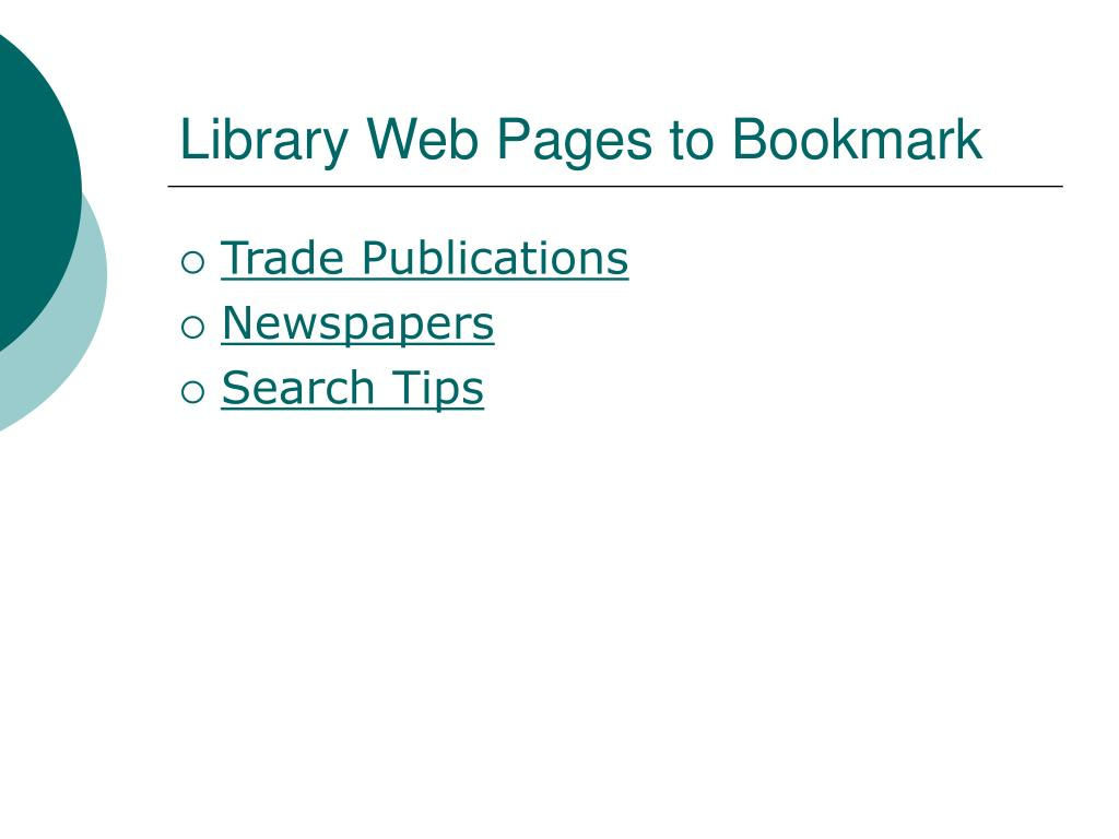 Library Web Pages to Bookmark