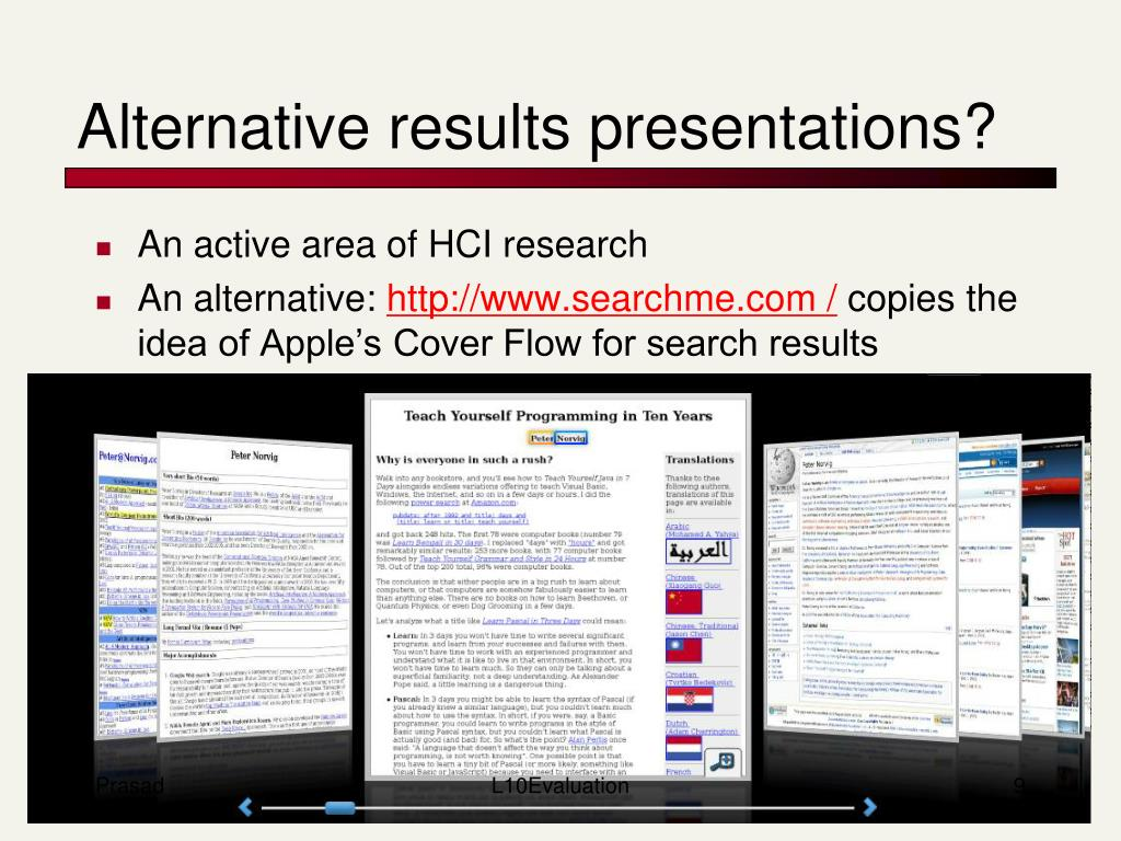 Alternative results presentations?