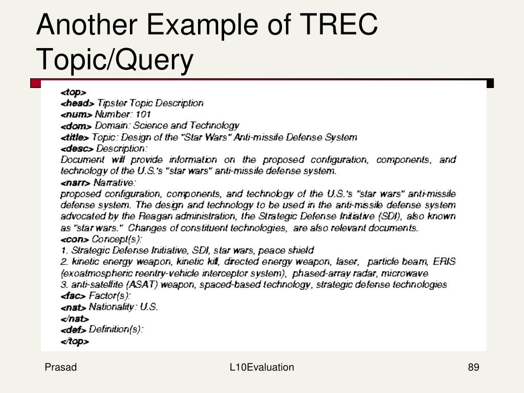 Another Example of TREC Topic/Query