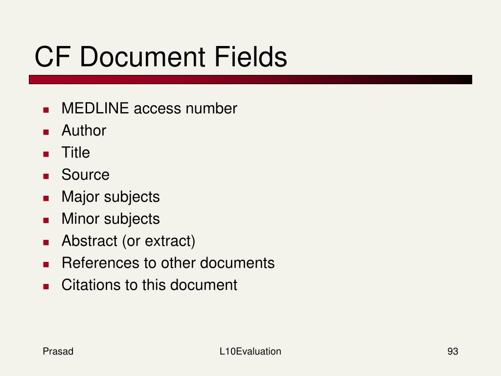 CF Document Fields
