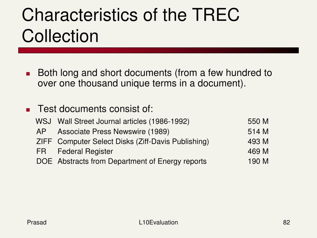 Characteristics of the TREC Collection
