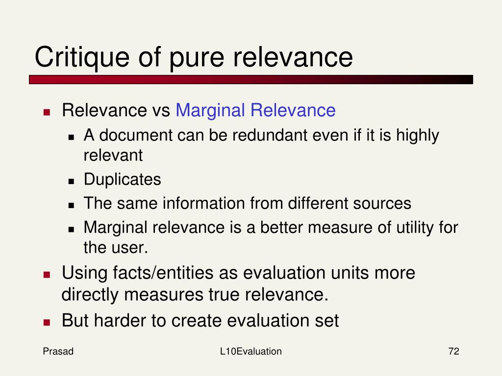 Critique of pure relevance