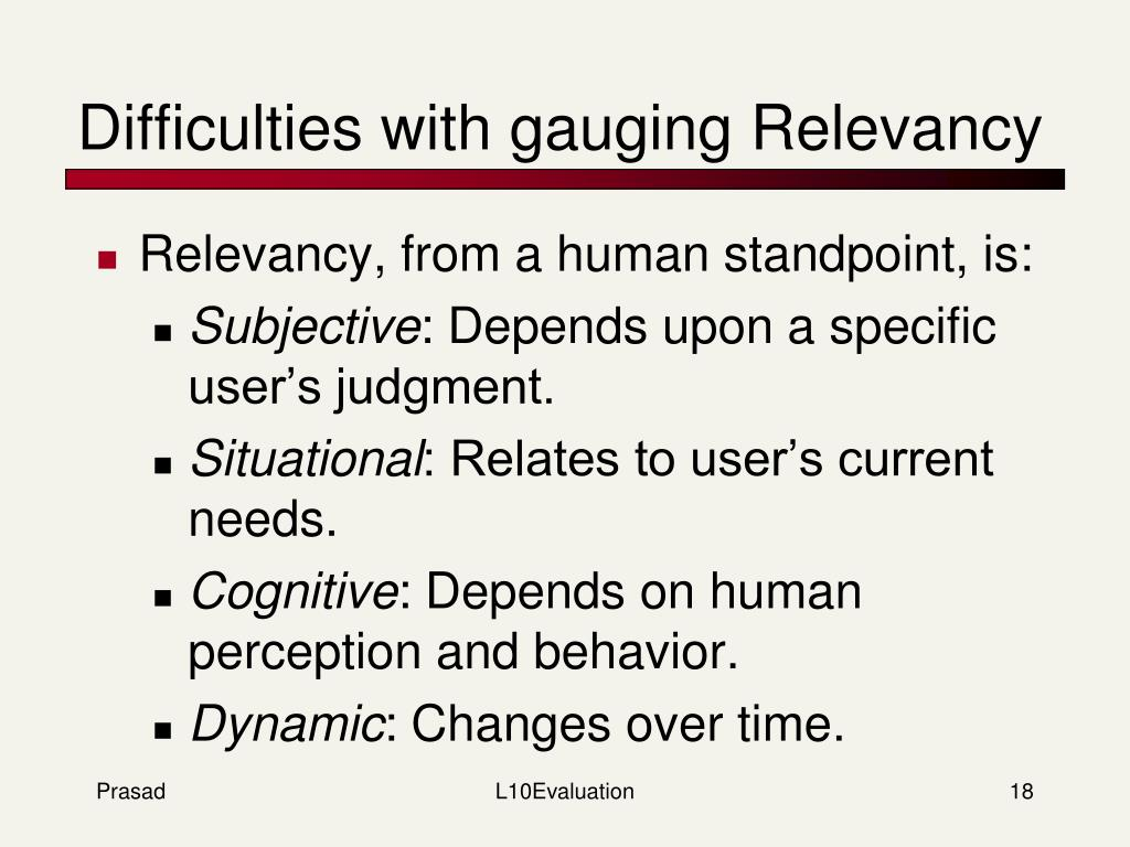 Difficulties with gauging Relevancy