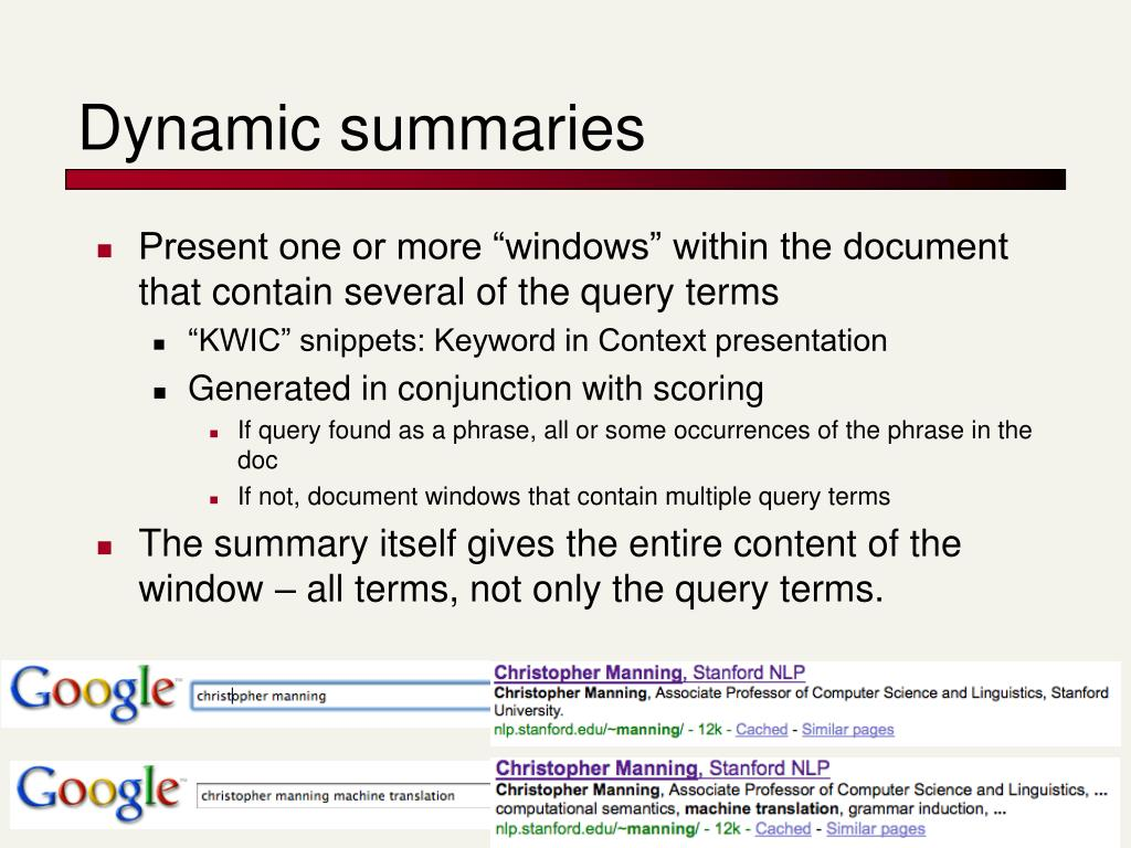 Dynamic summaries