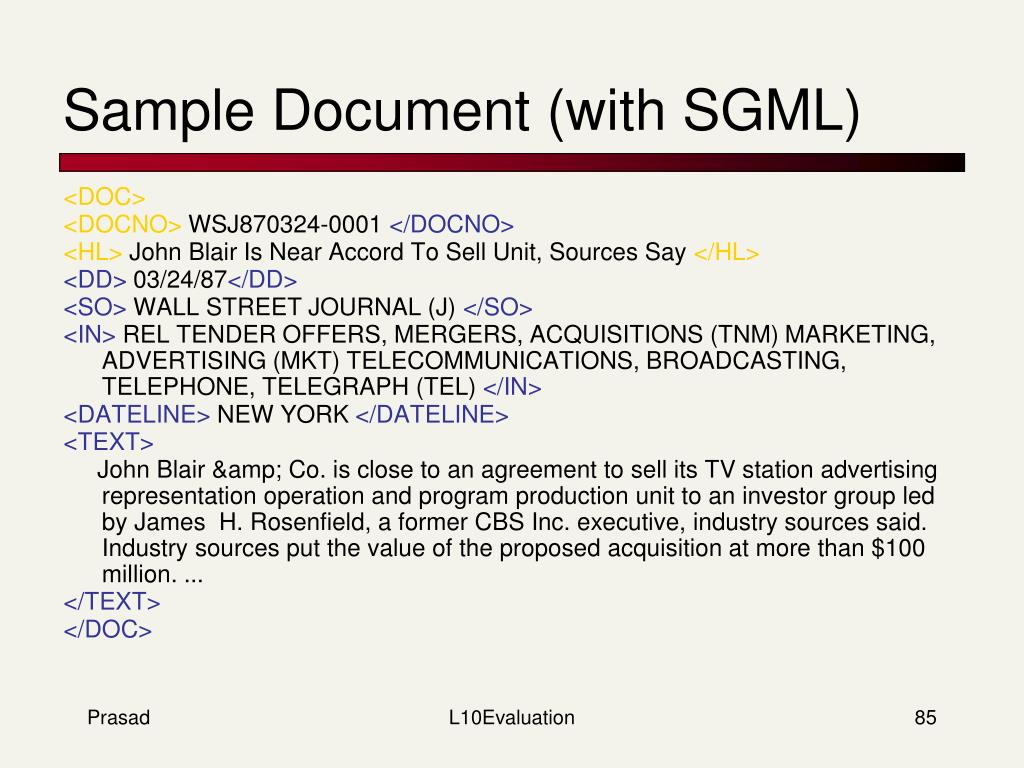 Sample Document (with SGML)