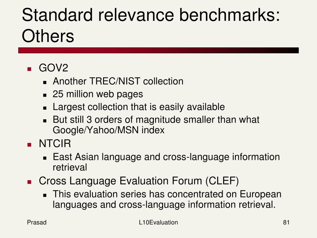 Standard relevance benchmarks: Others