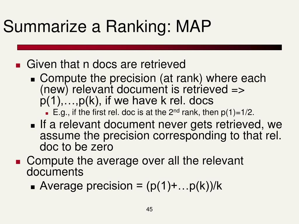 Summarize a Ranking: MAP