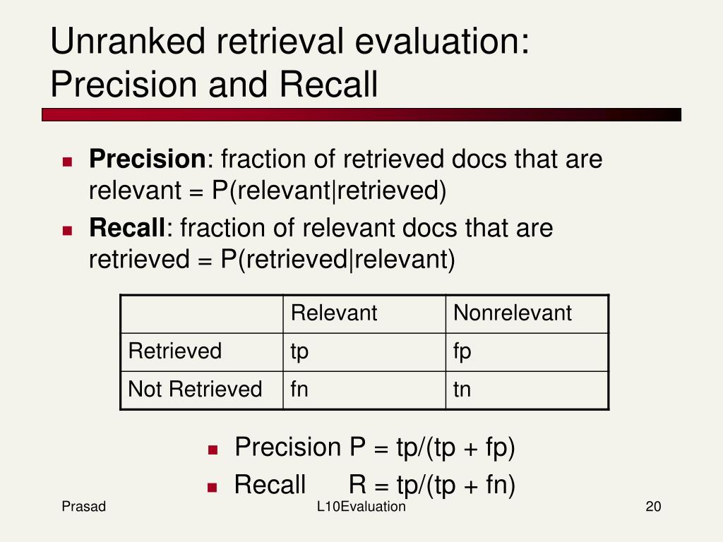 Unranked retrieval evaluation:
