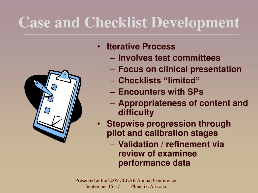 Case and Checklist Development