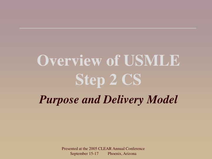 Overview of usmle step 2 cs