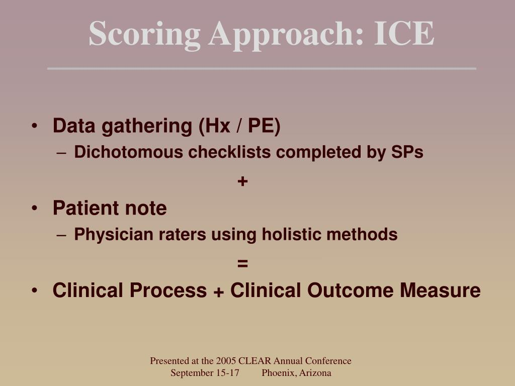 Scoring Approach: ICE
