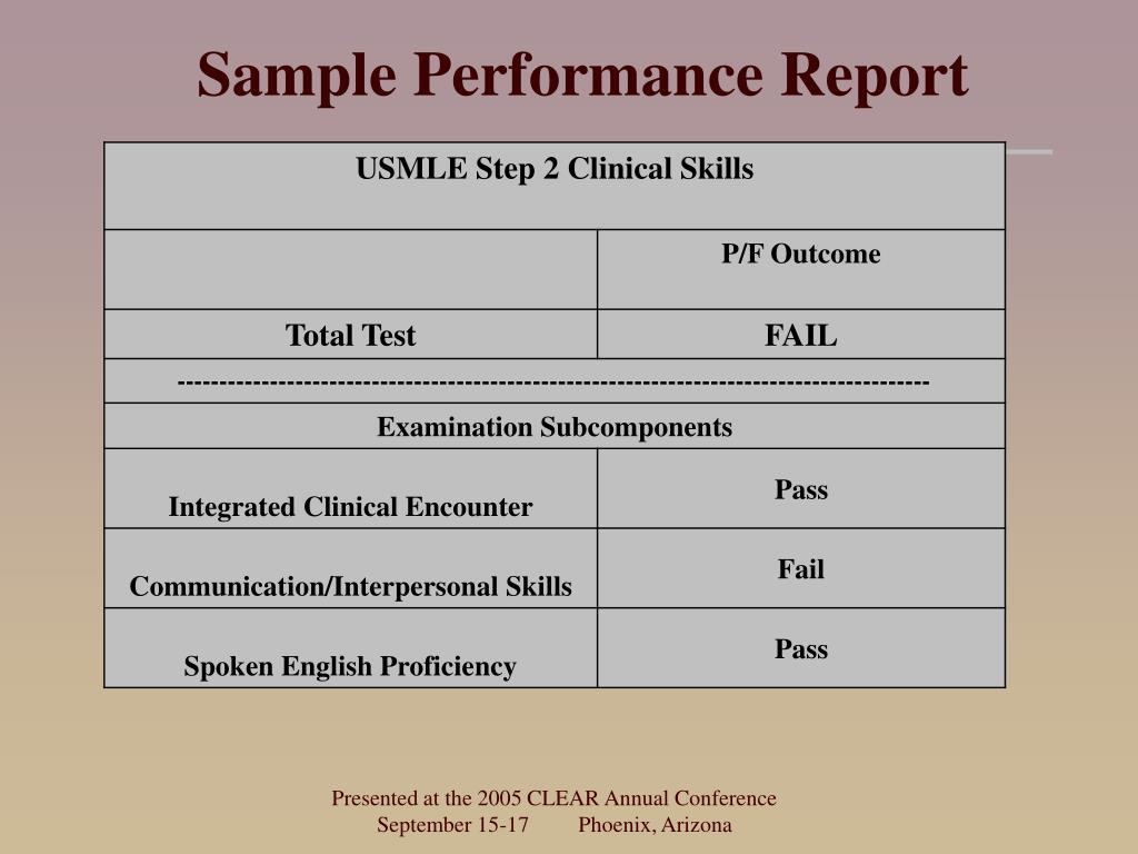 Sample Performance