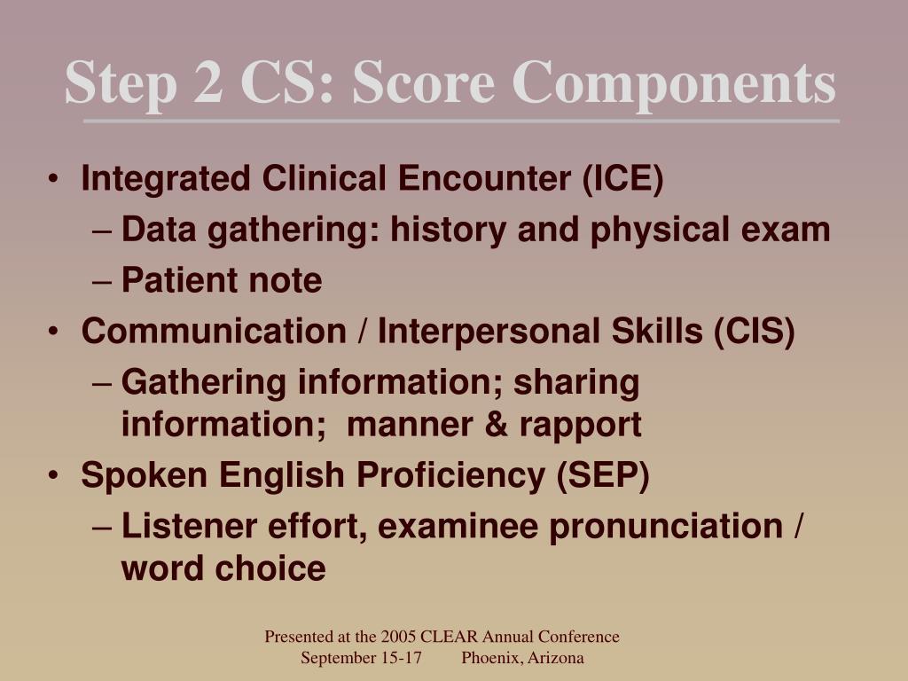 Step 2 CS: Score Components