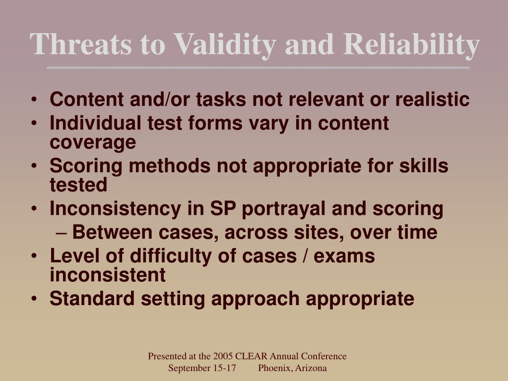 Threats to Validity and Reliability