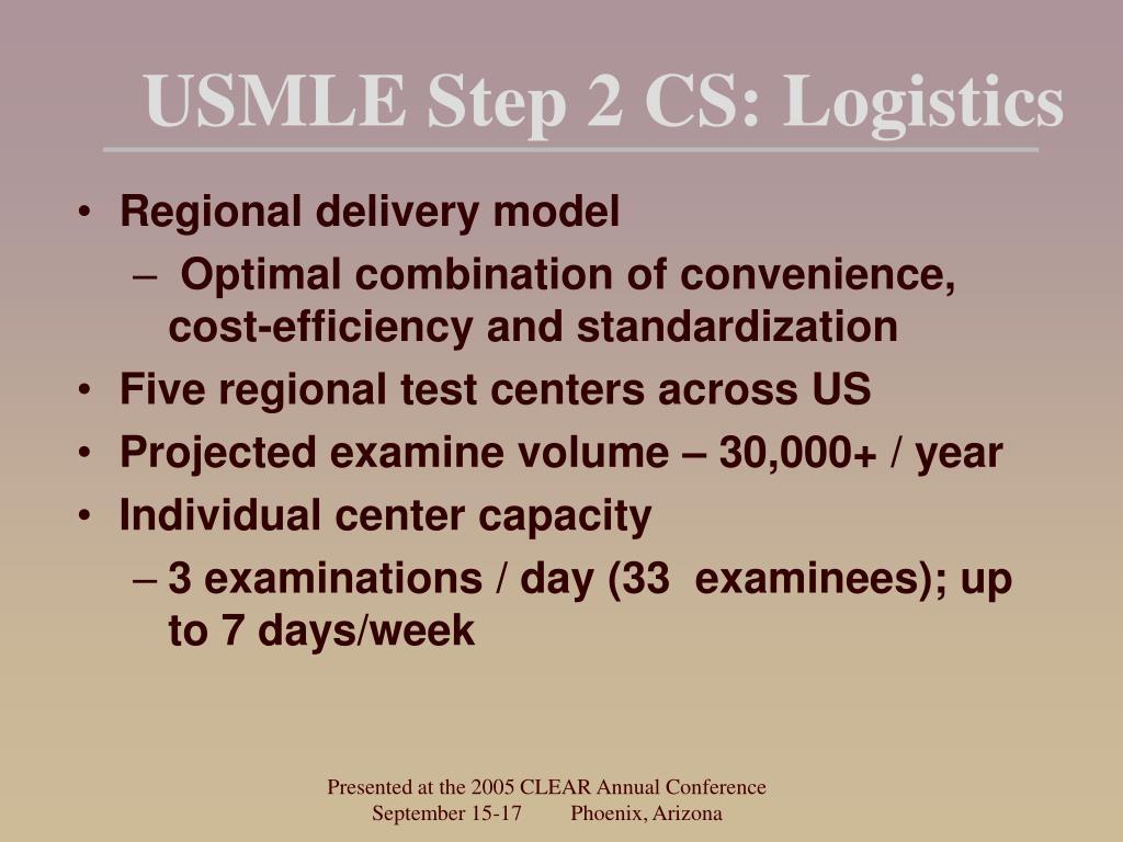 USMLE Step 2 CS: Logistics
