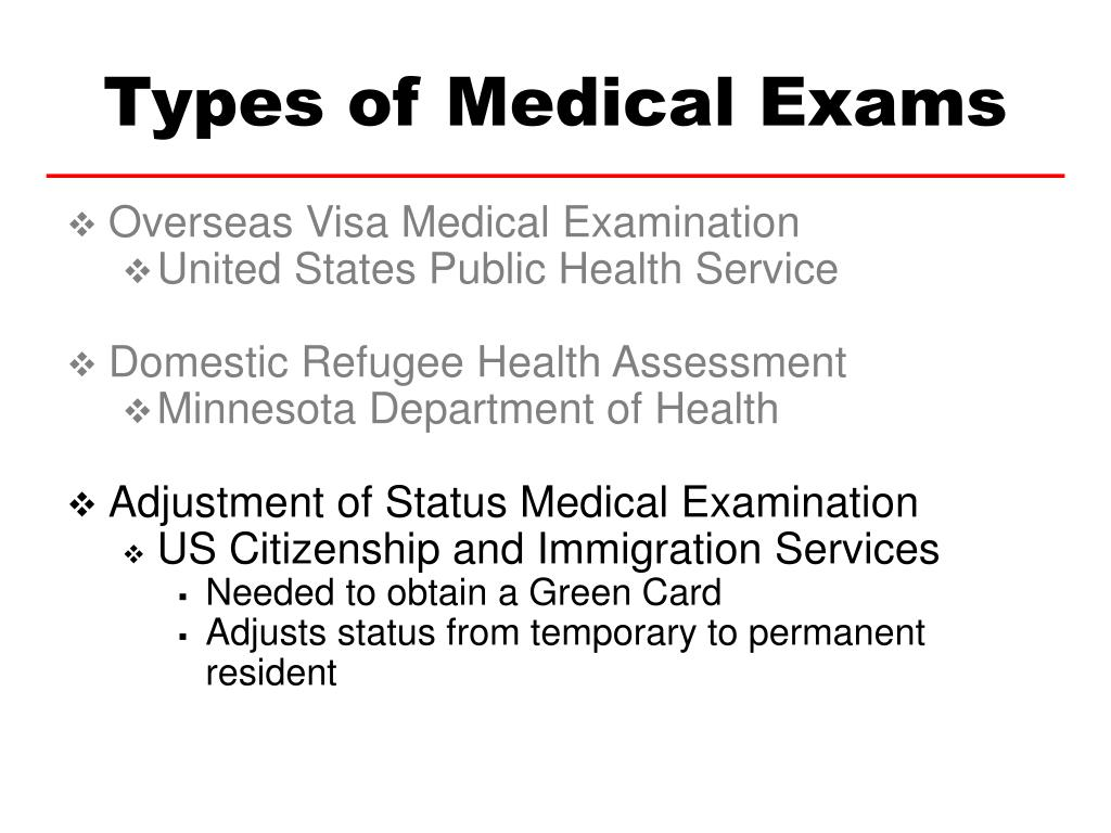 Types of Medical Exams
