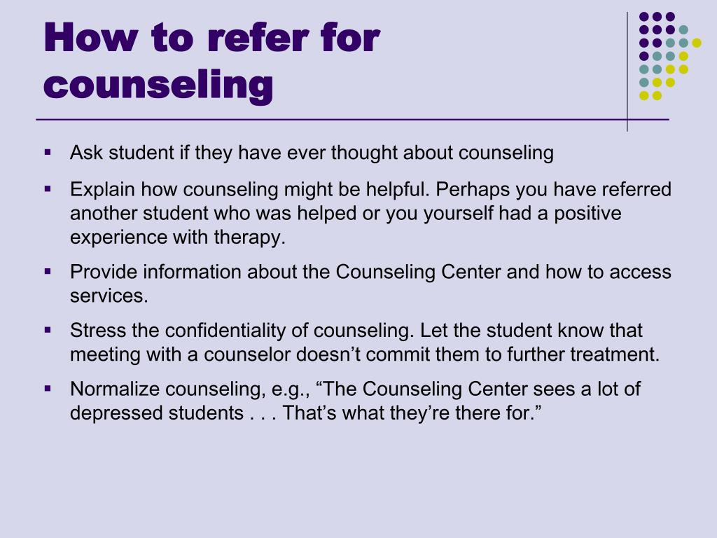 How to refer for counseling