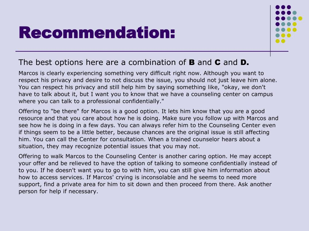 Recommendation:
