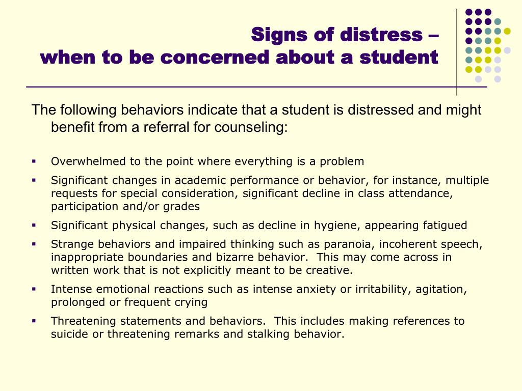 Signs of distress –
