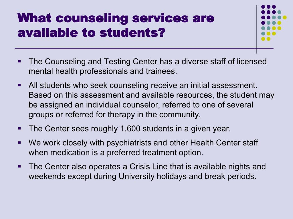 What counseling services are available to students?