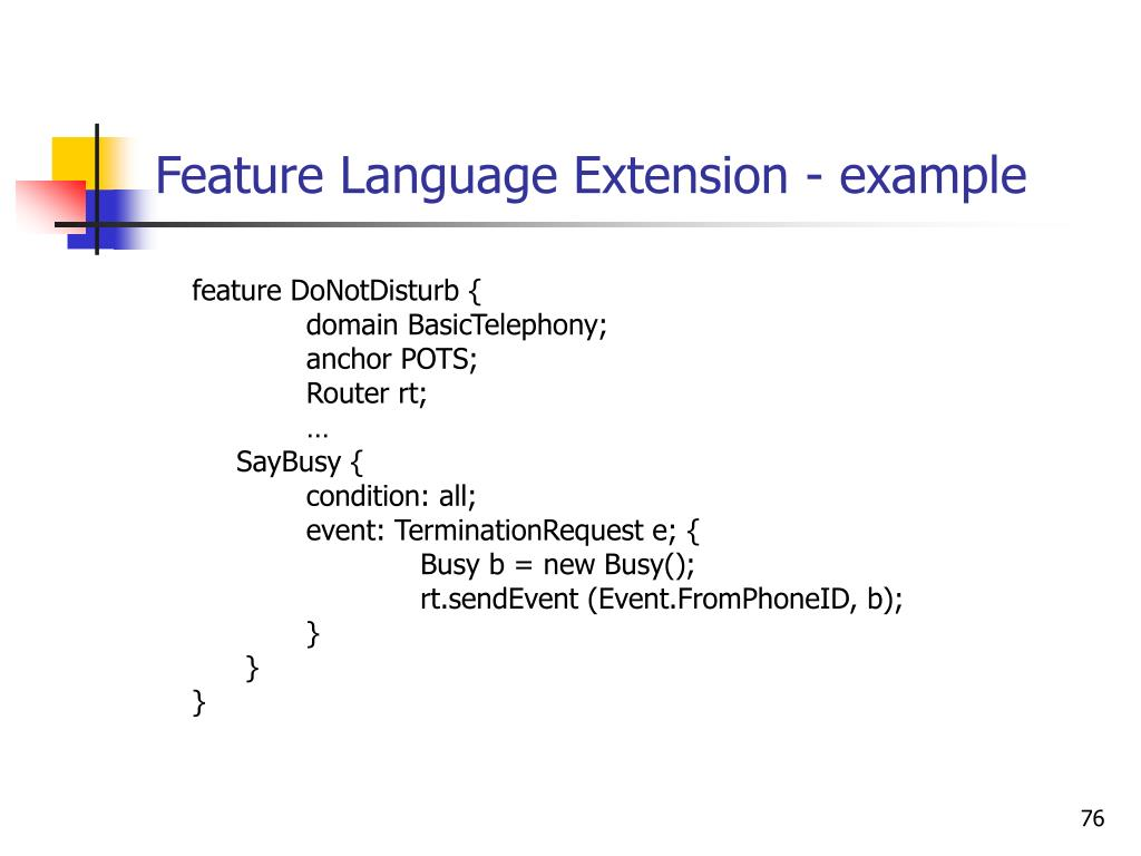 Feature Language Extension - example