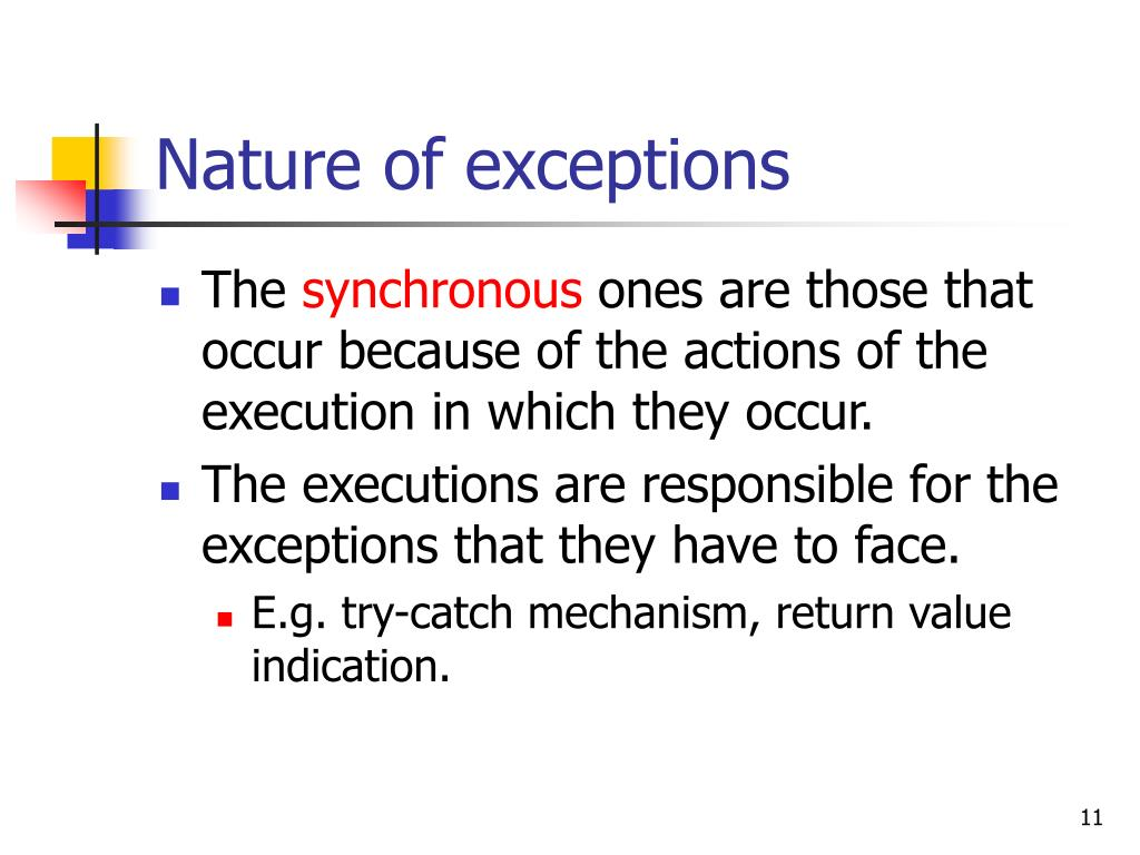 Nature of exceptions