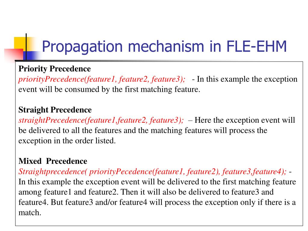 Propagation mechanism in FLE-EHM