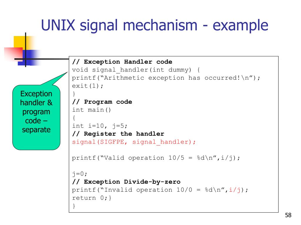 UNIX signal mechanism - example