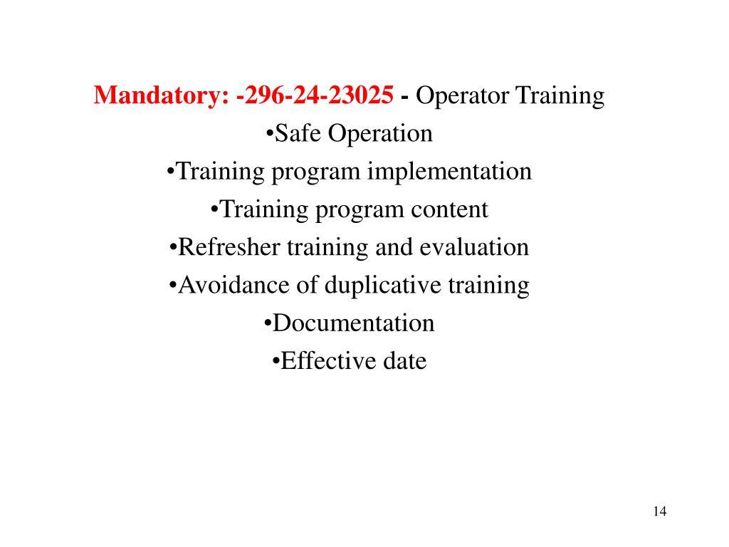Mandatory: -296-24-23025