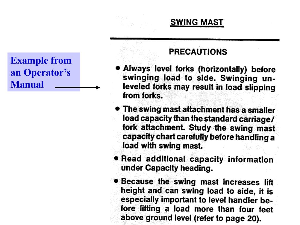 Example from an Operator's Manual
