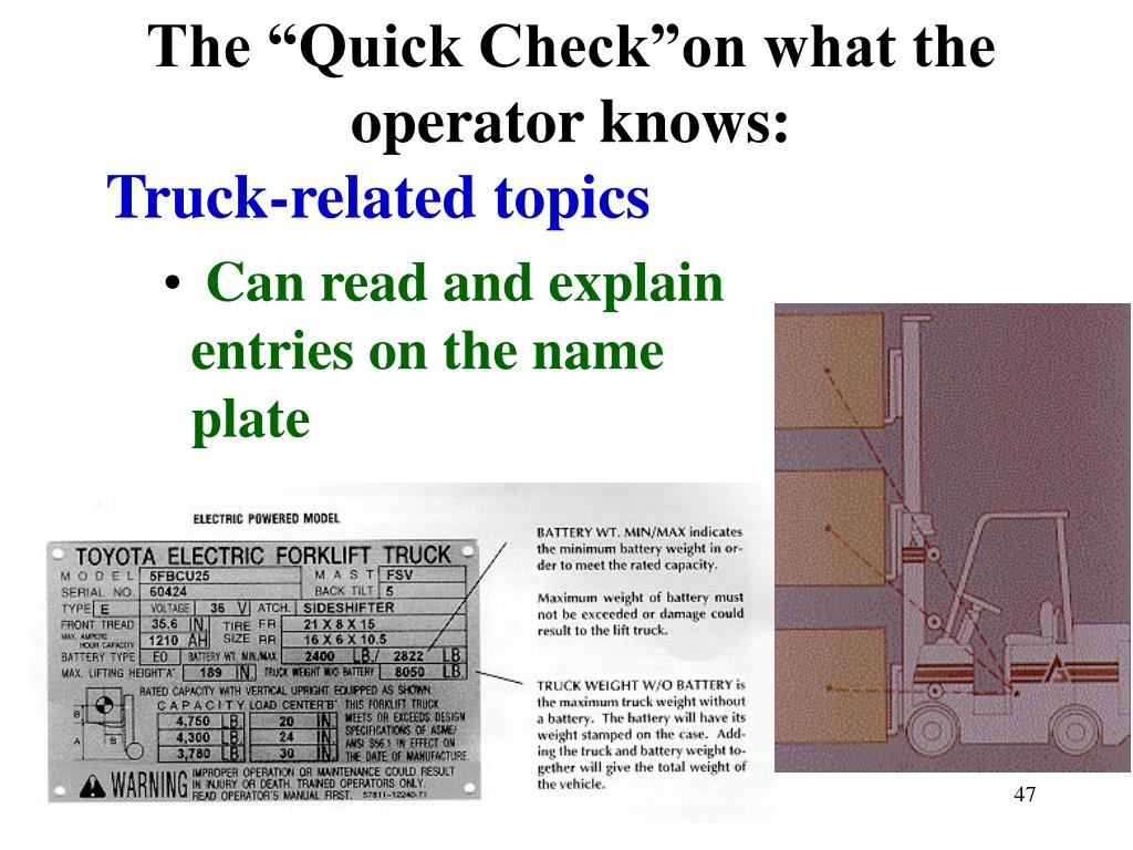 "The ""Quick Check""on what the operator knows:"