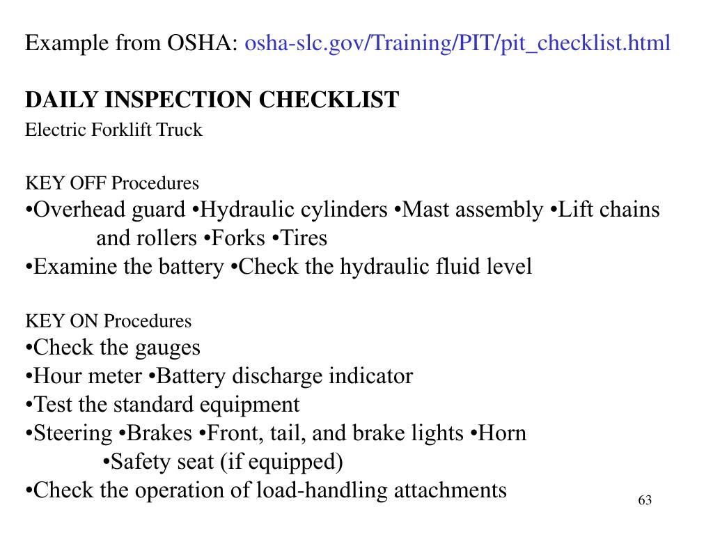 Example from OSHA:
