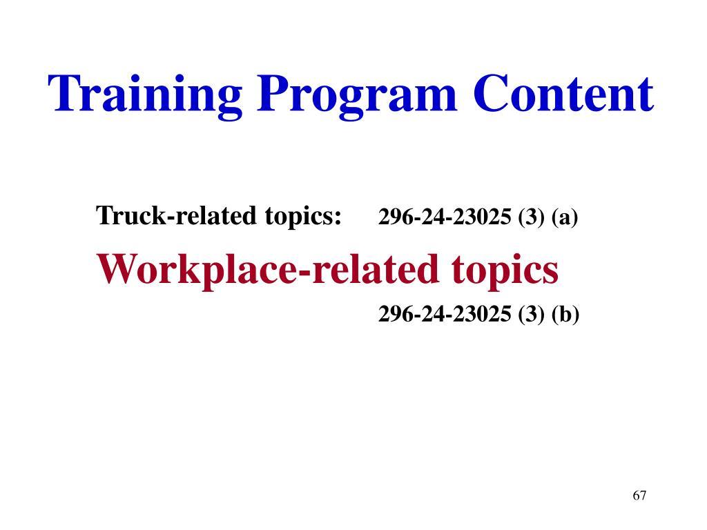 Training Program Content